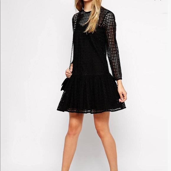 d716c3b43cf ASOS Black Broderie Crochet Shift Drop Waist Dress